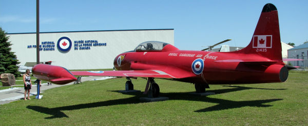 Canadair CT-133 Silver Star No. T-33 21435, painted in the colours of the Red Knight, on static display at the National Air Force Museum of Canada. Note: This aircraft was not one of the four T-33s actually used during displays by the Red Knight pilots. (Photo credit: John Corrigan)