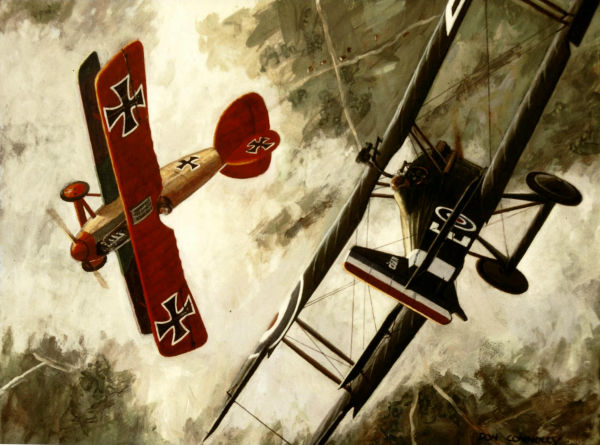 Manfred von Richthofen is shown flying an Albatros D.III fighter shortly after deciding to add red paint to his aircraft to avoid friendly fire from the German infantry. At this point, the Baron only had the nose, wings, tail and undercarriage painted red. By Don Connolly